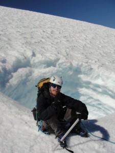 Entrada da cova de gelo na face norte do vulcão
