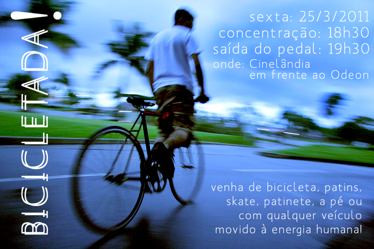 Flyer de divulgação da Bicicletada do Rio de março de 2011